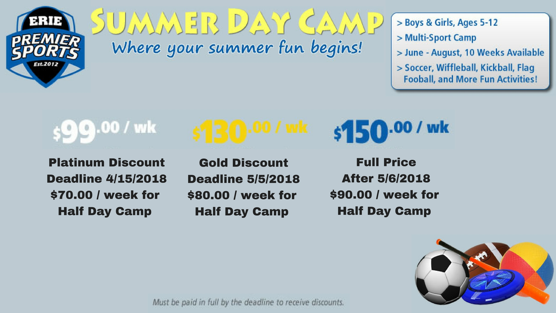Erie Premier Sports Multi-Sports Summer Day Camp